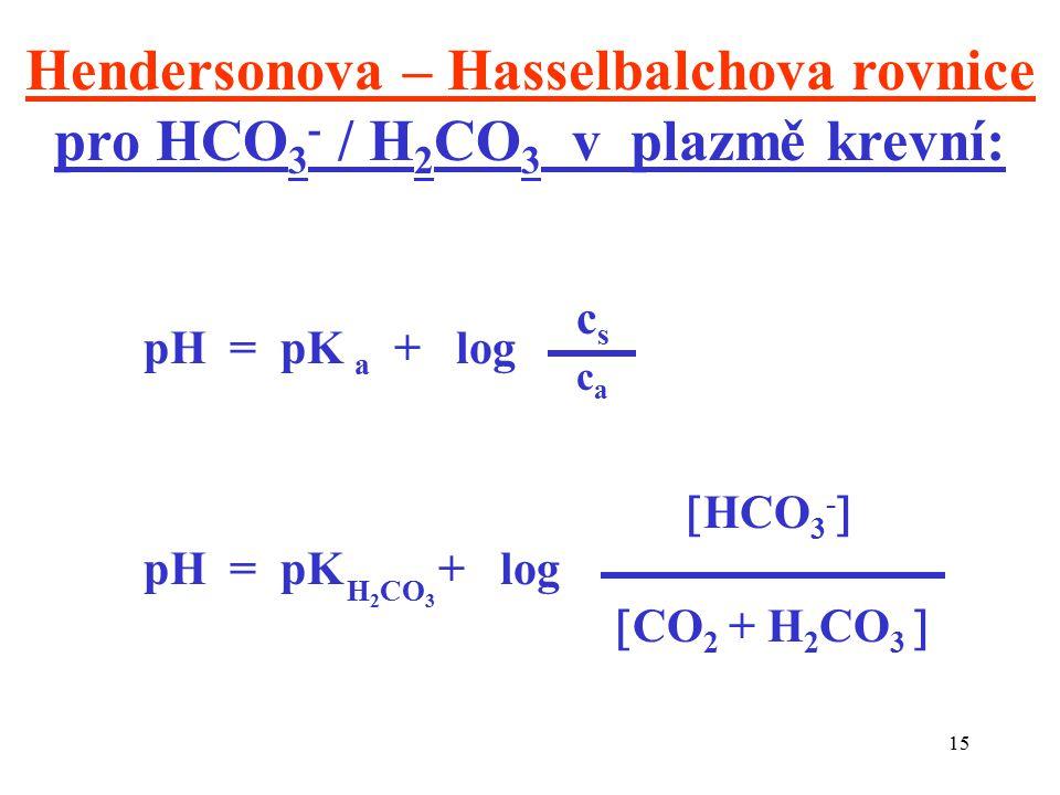 15 Hendersonova – Hasselbalchova rovnice pro HCO 3 - / H 2 CO 3 v plazmě krevní: pH = pK a + log cscs caca  HCO 3 -  pH = pK + log  CO 2 + H 2 CO 3