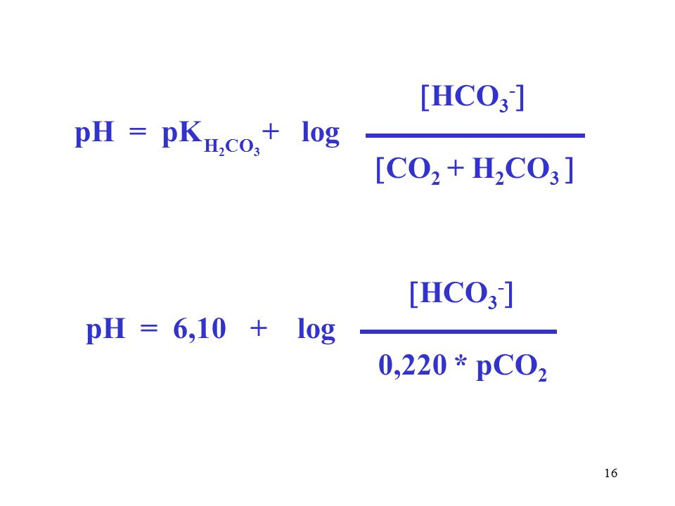 16  HCO 3 -  pH = pK + log  CO 2 + H 2 CO 3  H 2 CO 3  HCO 3 -  pH = 6,10 + log 0,220 * pCO 2