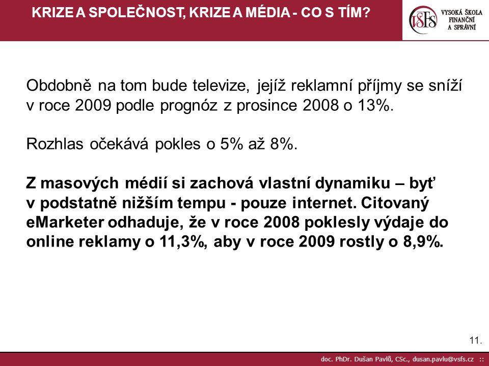 11. doc. PhDr. Dušan Pavlů, CSc., dusan.pavlu@vsfs.cz :: KRIZE A SPOLEČNOST, KRIZE A MÉDIA - CO S TÍM? Obdobně na tom bude televize, jejíž reklamní př
