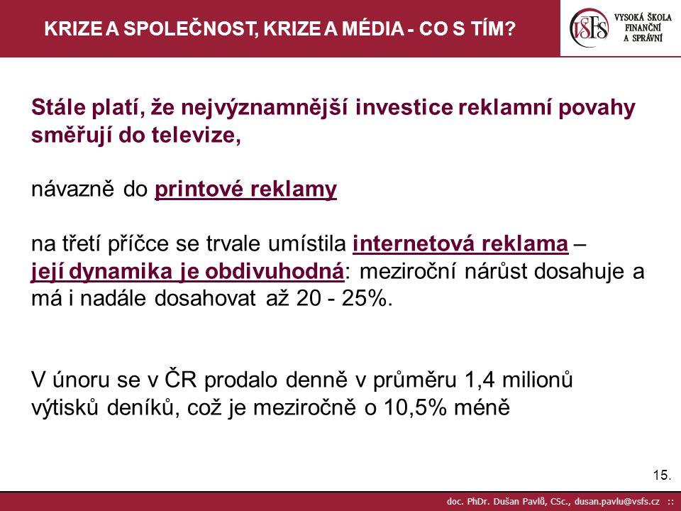 15. doc. PhDr. Dušan Pavlů, CSc., dusan.pavlu@vsfs.cz :: KRIZE A SPOLEČNOST, KRIZE A MÉDIA - CO S TÍM? Stále platí, že nejvýznamnější investice reklam