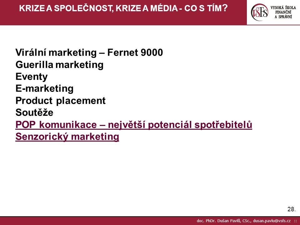 28. doc. PhDr. Dušan Pavlů, CSc., dusan.pavlu@vsfs.cz :: KRIZE A SPOLEČNOST, KRIZE A MÉDIA - CO S TÍM ? Virální marketing – Fernet 9000 Guerilla marke