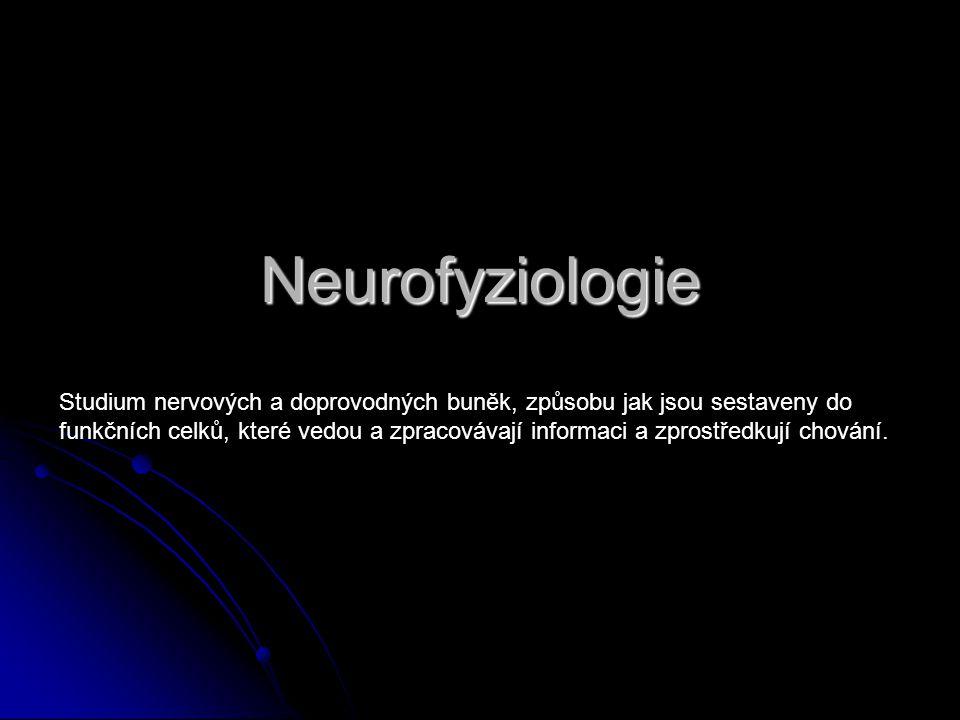 Neurofyziologie Studium nervových a doprovodných buněk, způsobu jak jsou sestaveny do funkčních celků, které vedou a zpracovávají informaci a zprostře