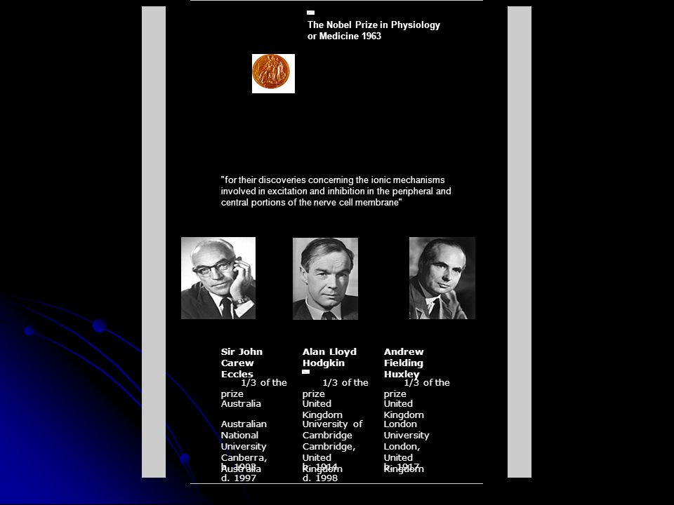 The Nobel Prize in Physiology or Medicine 1963 for their discoveries concerning the ionic mechanisms involved in excitation and inhibition in the peripheral and central portions of the nerve cell membrane Sir John Carew Eccles Alan Lloyd Hodgkin Andrew Fielding Huxley 1/3 of the prize AustraliaUnited Kingdom Australian National University Canberra, Australia University of Cambridge Cambridge, United Kingdom London University London, United Kingdom b.