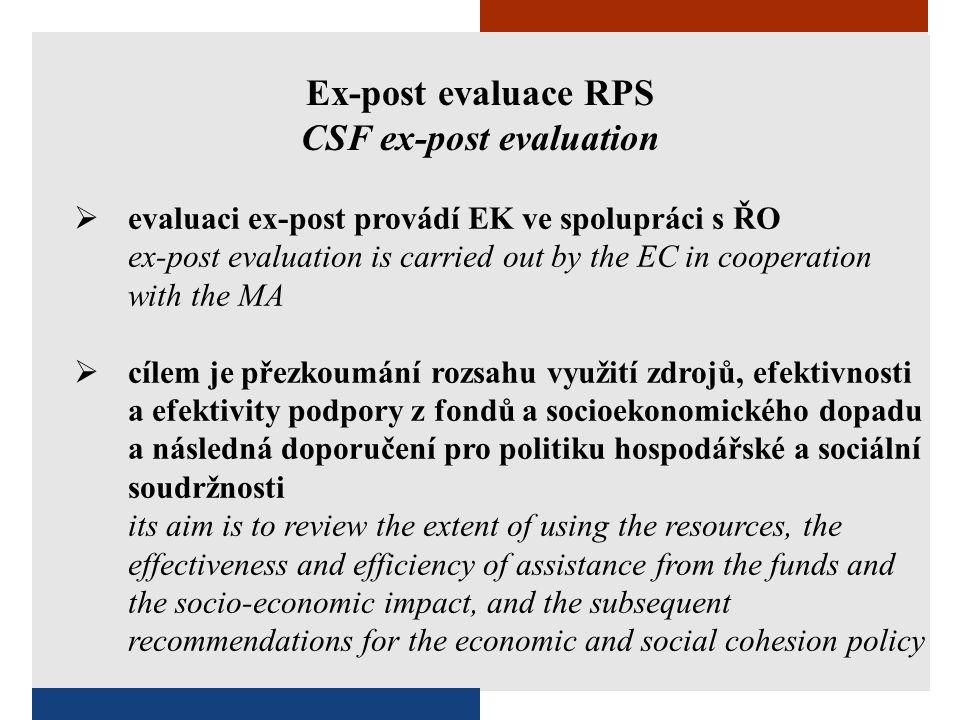 Ex-post evaluace RPS CSF ex-post evaluation  evaluaci ex-post provádí EK ve spolupráci s ŘO ex-post evaluation is carried out by the EC in cooperatio
