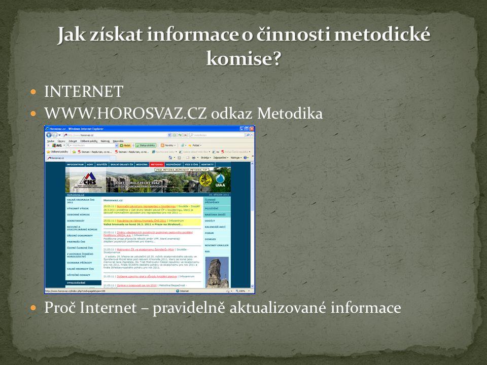 INTERNET WWW.HOROSVAZ.CZ odkaz Metodika Proč Internet – pravidelně aktualizované informace