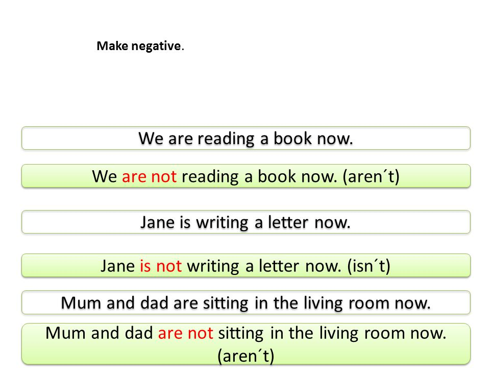 Make negative. We are reading a book now. Jane is writing a letter now.