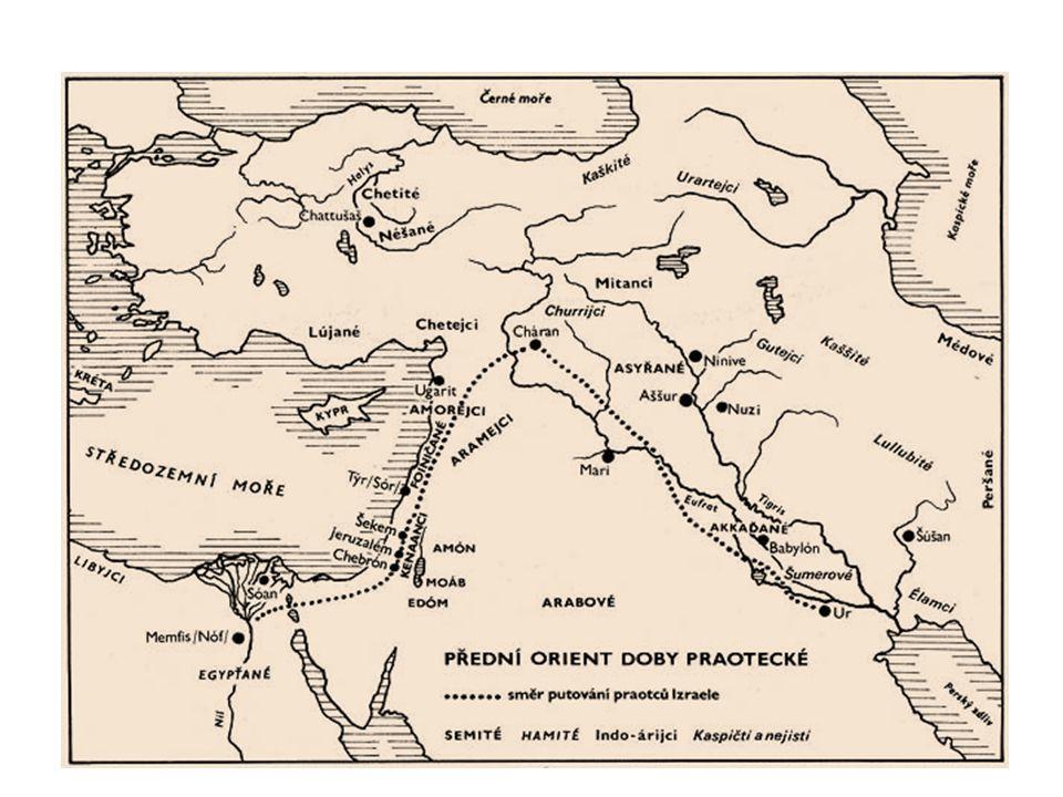 ČÁST PROTOIZRAELSKÝCH RODŮ (NAZÝVANÍ HEBREJOVÉ OD IBRI, IVRI ZNAMENAJÍCÍ PŘEJÍT, PŘEKROČIT … POUKAZ NA MEZOPOTAMSKÝ PŮVOD TĚCHTO RODŮ … PŘIŠLY ZPOZA ŘEKY EUFRAT) PŘESÍDLILA KVŮLI SUCHU DO EGYPTA, JAKO STÁTNÍM EGYPTSKÝM OTROKŮM JIM BYLY PŘIDĚLENY VÝCHODNÍ ČÁSTI NILSKÉ DELTY.