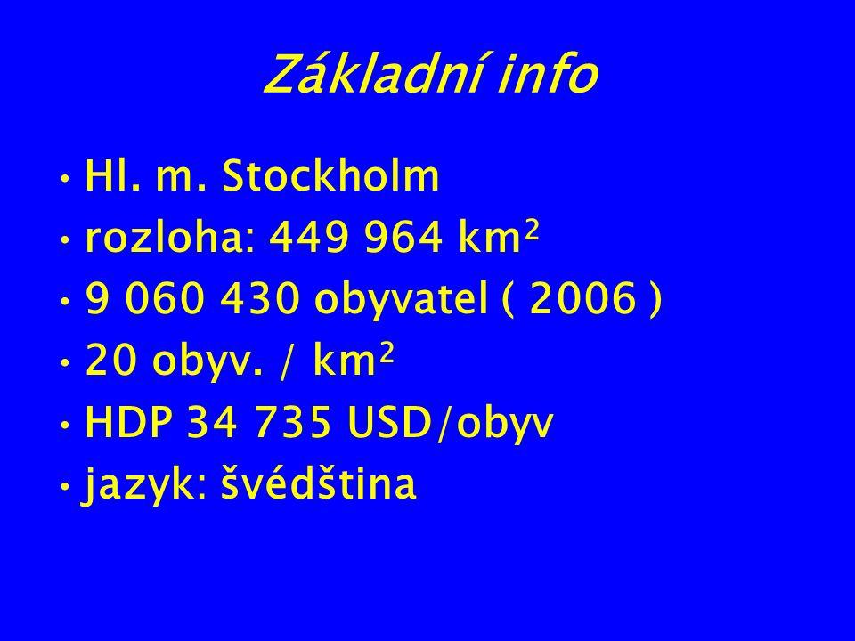 Základní info Hl. m. Stockholm rozloha: 449 964 km 2 9 060 430 obyvatel ( 2006 ) 20 obyv. / km 2 HDP 34 735 USD/obyv jazyk: švédština