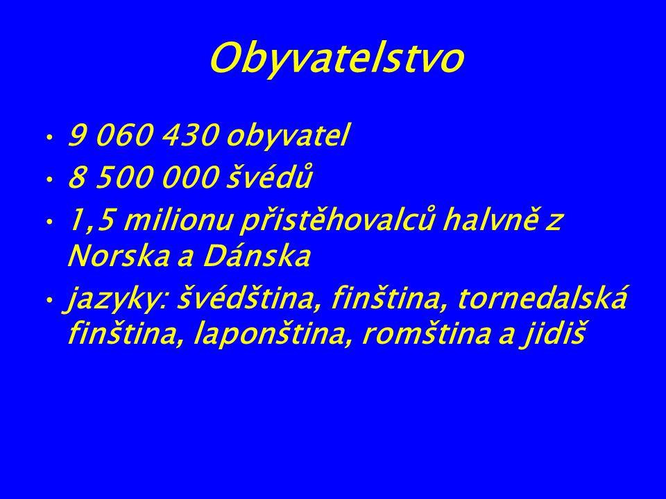 Obyvatelstvo 9 060 430 obyvatel 8 500 000 švédů 1,5 milionu přistěhovalců halvně z Norska a Dánska jazyky: švédština, finština, tornedalská finština,