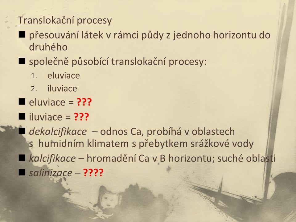Translokační procesy přesouvání látek v rámci půdy z jednoho horizontu do druhého společně působící translokační procesy: 1.