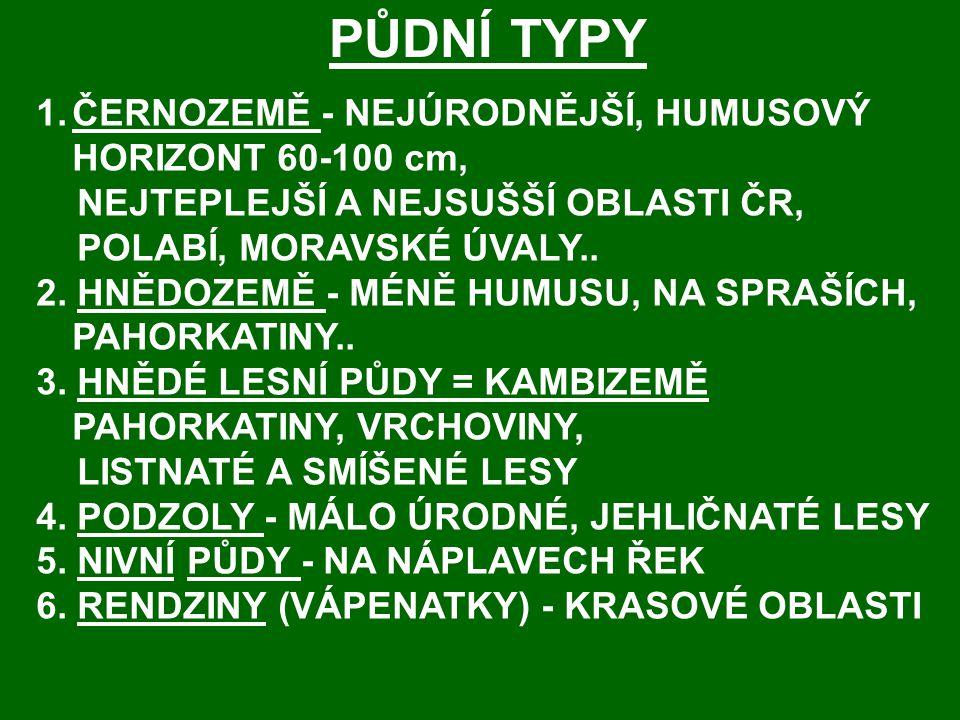 PŮDNÍ TYPY 1.ČERNOZEMĚ - NEJÚRODNĚJŠÍ, HUMUSOVÝ HORIZONT 60-100 cm, NEJTEPLEJŠÍ A NEJSUŠŠÍ OBLASTI ČR, POLABÍ, MORAVSKÉ ÚVALY..