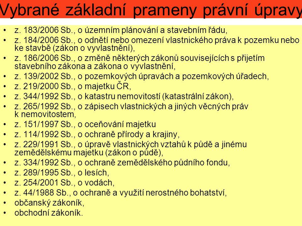 Vybrané základní prameny právní úpravy z. 183/2006 Sb., o územním plánování a stavebním řádu, z. 184/2006 Sb., o odnětí nebo omezení vlastnického práv