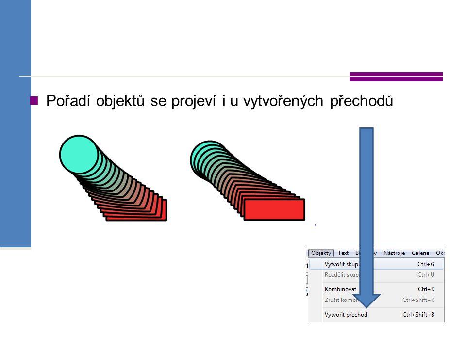 Pořadí objektů se projeví i u vytvořených přechodů