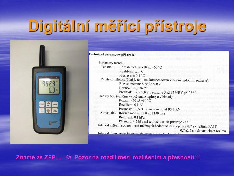 Příklady integrované snímače zrychlení (vibrací), tlaku (výškoměry), teploty, vlhkosti, magnetických polí (Hallovy sondy od jednotek T až po zemské magnetické pole) ……… Digitální měření ve fyzice 1.Převod fyzikální veličiny na elektrickou 2.