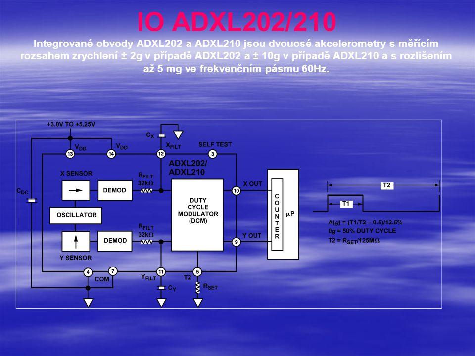 IO ADXL202/210 Integrované obvody ADXL202 a ADXL210 jsou dvouosé akcelerometry s měřícím rozsahem zrychlení ± 2g v případě ADXL202 a ± 10g v případě ADXL210 a s rozlišením až 5 mg ve frekvenčním pásmu 60Hz.