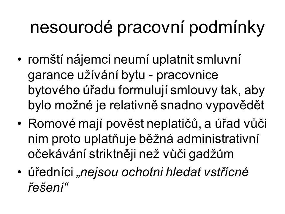 nesourodé pracovní podmínky romští nájemci neumí uplatnit smluvní garance užívání bytu - pracovnice bytového úřadu formulují smlouvy tak, aby bylo mož