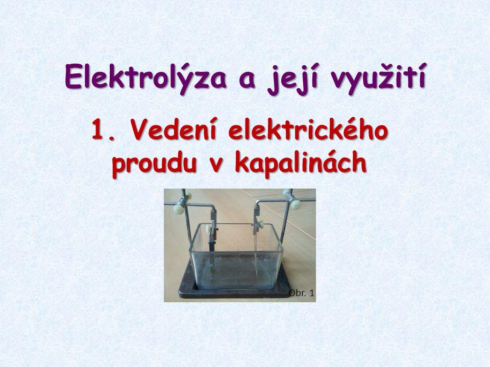 Elektrolýza a její využití 1. Vedení elektrického proudu v kapalinách Obr. 1