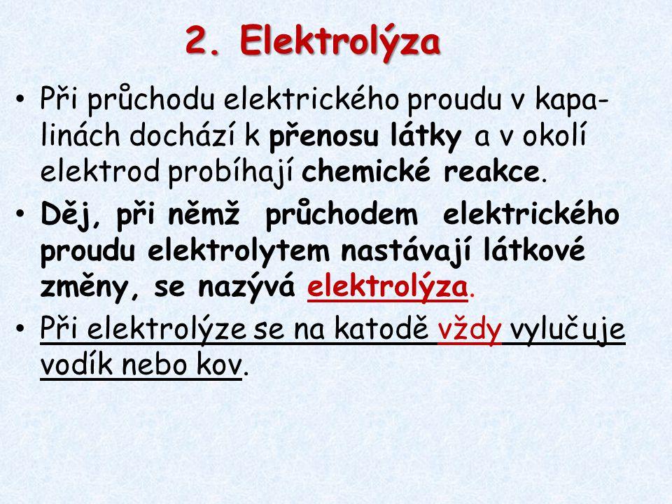 Při průchodu elektrického proudu v kapa- linách dochází k přenosu látky a v okolí elektrod probíhají chemické reakce. Děj, při němž průchodem elektric