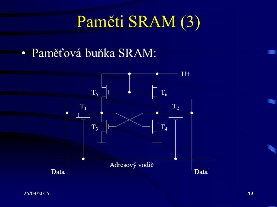 25/04/201513 Paměti SRAM (3) Paměťová buňka SRAM: U+ Adresový vodič Data T1T1 T2T2 T3T3 T4T4 T5T5 T6T6