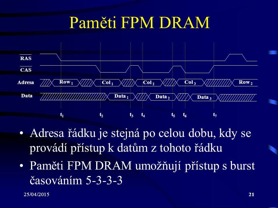 25/04/201521 Paměti FPM DRAM Adresa řádku je stejná po celou dobu, kdy se provádí přístup k datům z tohoto řádku Paměti FPM DRAM umožňují přístup s burst časováním 5-3-3-3 RAS CAS Adresa Data Row 1 Col 1 Data 1 Row 2 Col 2 Col 3 Data 2 Data 3 t1t1 t2t2 t3t3 t4t4 t5t5 t6t6 t7t7