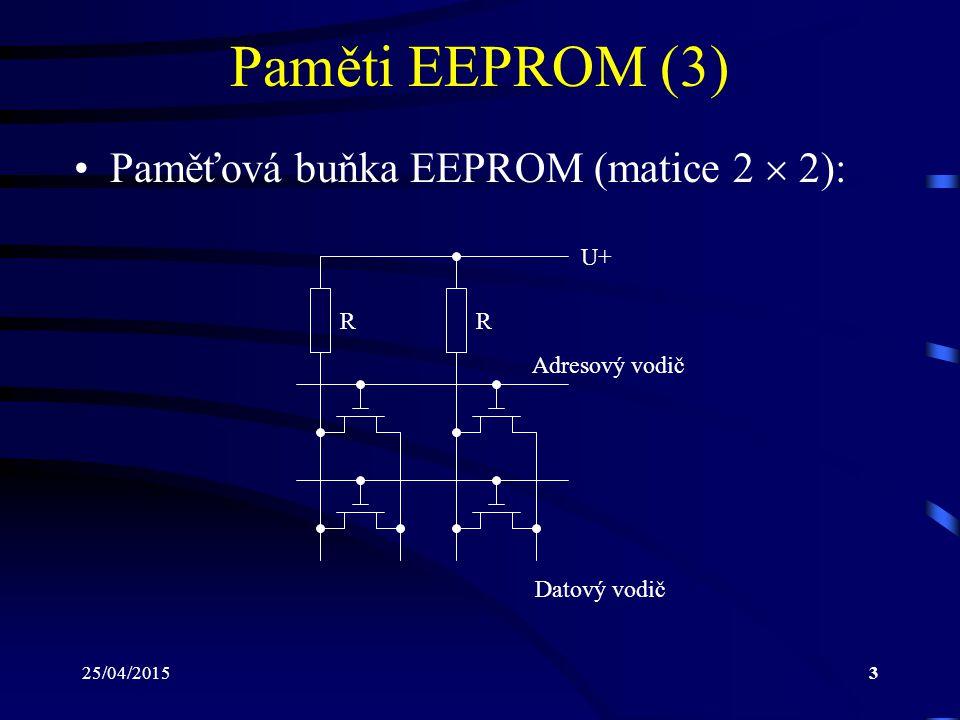 25/04/201514 Paměti DRAM (1) DRAM – Dynamic Random Access Memory Informace je uložena pomocí elektrického náboje na kondenzátoru Tento náboj má však tendenci se vybíjet i v době, kdy je paměť připojena ke zdroji elektrického napájení Aby nedošlo k tomuto vybití a tím i ke ztrátě uložené informace, je nutné periodicky pro- vádět tzv.