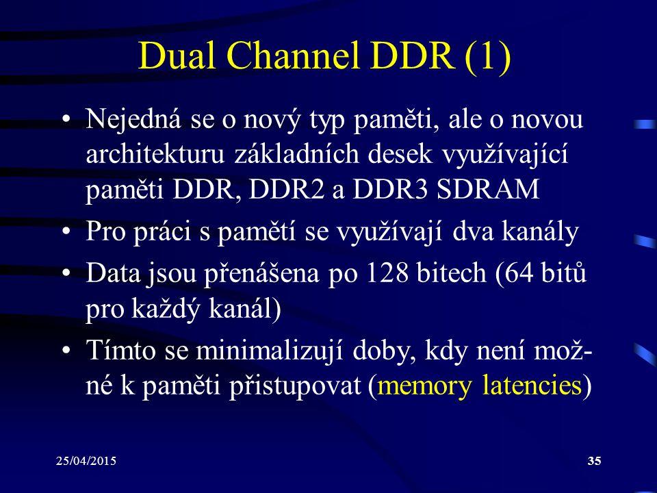 25/04/201535 Dual Channel DDR (1) Nejedná se o nový typ paměti, ale o novou architekturu základních desek využívající paměti DDR, DDR2 a DDR3 SDRAM Pro práci s pamětí se využívají dva kanály Data jsou přenášena po 128 bitech (64 bitů pro každý kanál) Tímto se minimalizují doby, kdy není mož- né k paměti přistupovat (memory latencies)
