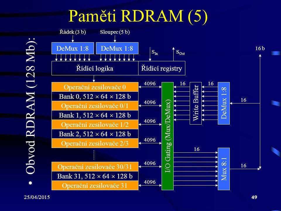 25/04/201549 Paměti RDRAM (5) Řídící logika Operační zesilovače 0/1 Bank 0, 512  64  128 b Bank 1, 512  64  128 b Operační zesilovače 1/2 Bank 2, 512  64  128 b Operační zesilovače 2/3 Operační zesilovače 0 Operační zesilovače 30/31 Bank 31, 512  64  128 b Operační zesilovače 31 I/O Gating (Mux/DeMux) 4096 Write BufferDeMux 1:8 Mux 8:1 16 Řídící registry DeMux 1:8 S Out S In Řádek (3 b)Sloupec (5 b) Obvod RDRAM (128 Mb): 16 b
