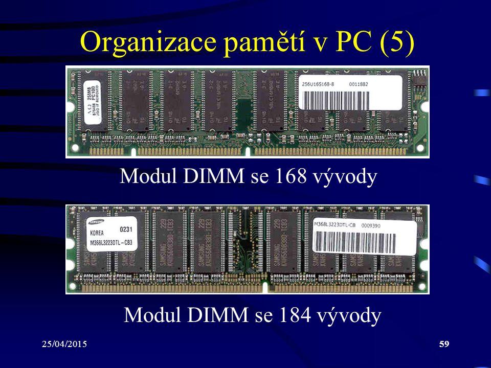 25/04/201559 Organizace pamětí v PC (5) Modul DIMM se 168 vývody Modul DIMM se 184 vývody