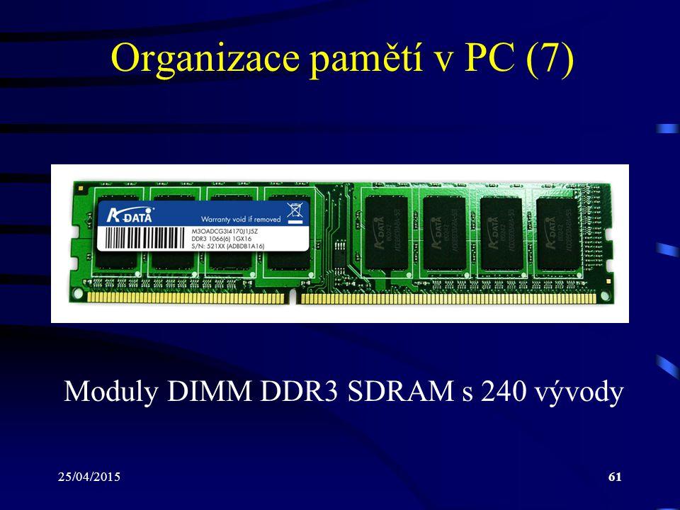 25/04/201561 Organizace pamětí v PC (7) Moduly DIMM DDR3 SDRAM s 240 vývody