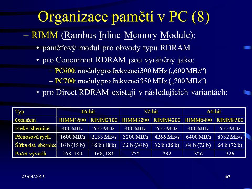 """25/04/201562 Organizace pamětí v PC (8) –RIMM (Rambus Inline Memory Module): paměťový modul pro obvody typu RDRAM pro Concurrent RDRAM jsou vyráběny jako: –PC600: moduly pro frekvenci 300 MHz (""""600 MHz ) –PC700: moduly pro frekvenci 350 MHz (""""700 MHz ) pro Direct RDRAM existují v následujících variantách: Typ16-bit32-bit64-bit OznačeníRIMM1600RIMM2100RIMM3200RIMM4200RIMM6400RIMM8500 Frekv."""