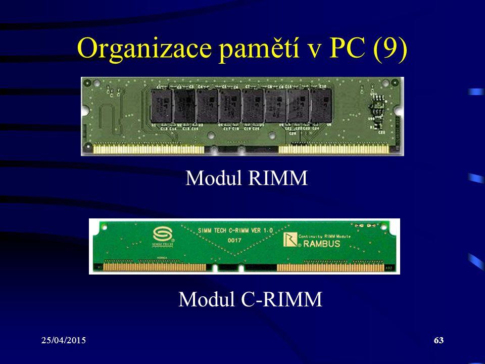 25/04/201563 Organizace pamětí v PC (9) Modul RIMM Modul C-RIMM
