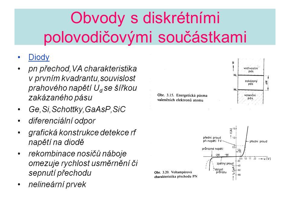 Obvody s diskrétními polovodičovými součástkami Diody pn přechod,VA charakteristika v prvním kvadrantu,souvislost prahového napětí U d se šířkou zakáz