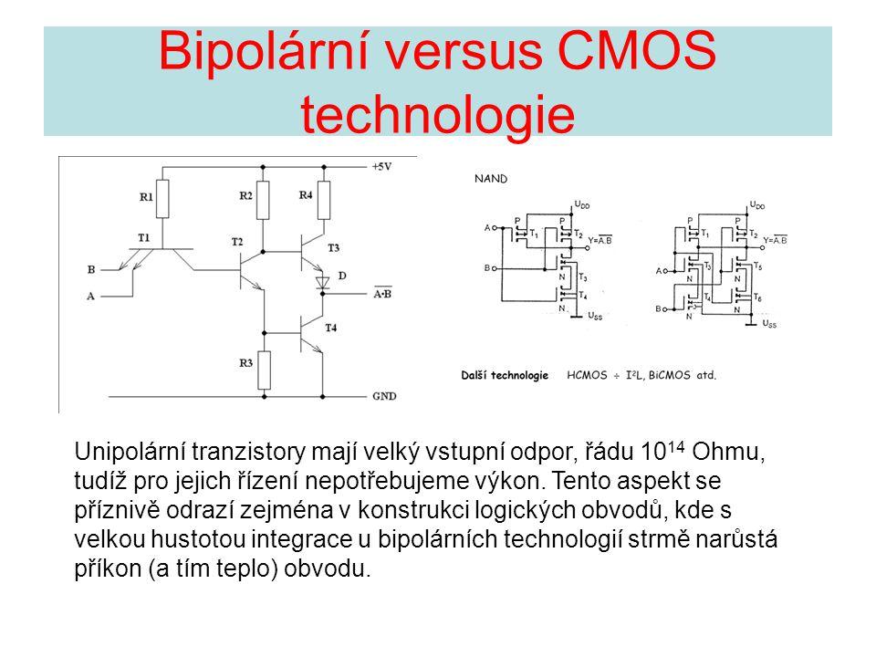 Bipolární versus CMOS technologie Unipolární tranzistory mají velký vstupní odpor, řádu 10 14 Ohmu, tudíž pro jejich řízení nepotřebujeme výkon. Tento