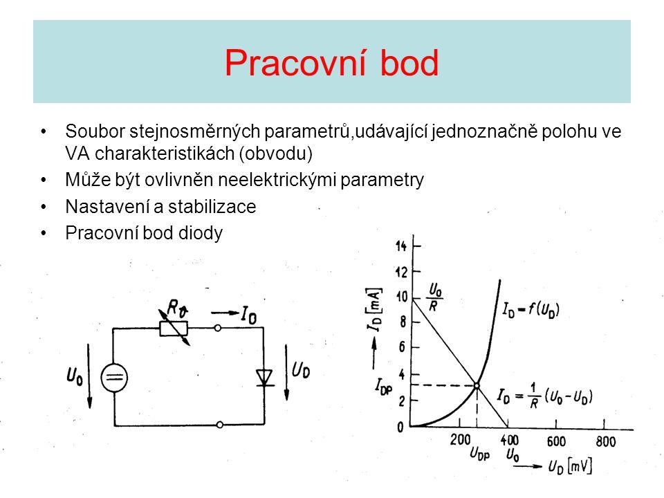 Pracovní bod Soubor stejnosměrných parametrů,udávající jednoznačně polohu ve VA charakteristikách (obvodu) Může být ovlivněn neelektrickými parametry