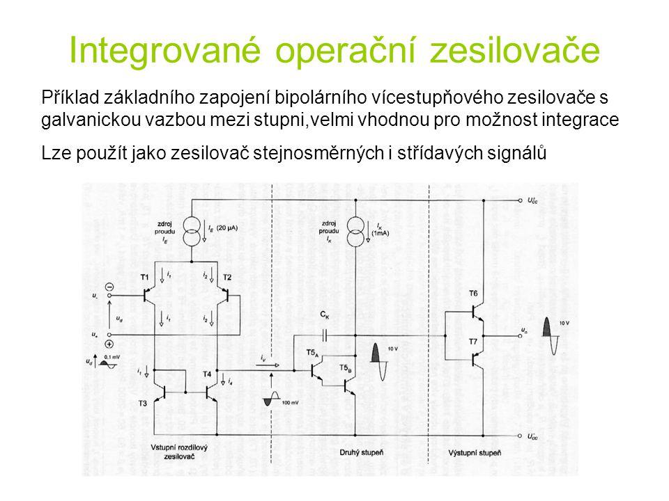 Příklad základního zapojení bipolárního vícestupňového zesilovače s galvanickou vazbou mezi stupni,velmi vhodnou pro možnost integrace Lze použít jako