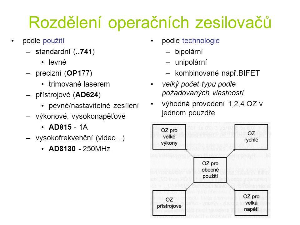Rozdělení operačních zesilovačů podle použití –standardní (..741) levné –precizní (OP177) trimované laserem –přístrojové (AD624) pevné/nastavitelné ze