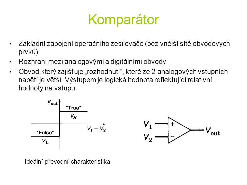 Komparátor Základní zapojení operačního zesilovače (bez vnější sítě obvodových prvků) Rozhraní mezi analogovými a digitálními obvody Obvod,který zajiš
