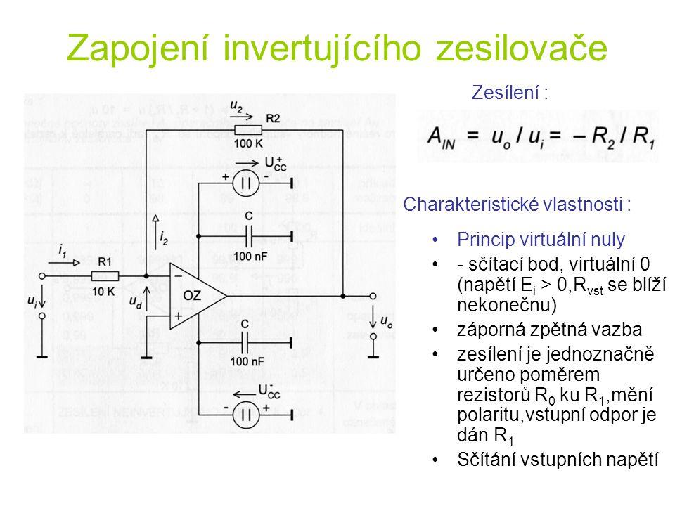 Zapojení invertujícího zesilovače Zesílení : Princip virtuální nuly - sčítací bod, virtuální 0 (napětí E i > 0,R vst se blíží nekonečnu) záporná zpětn