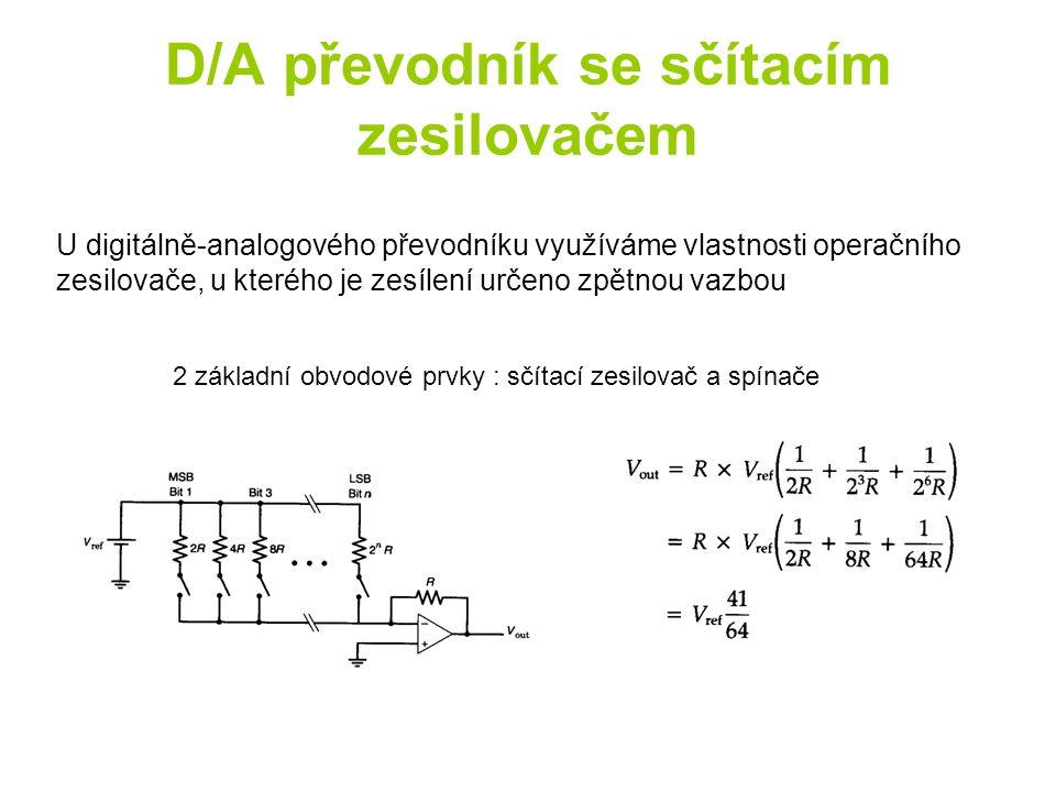D/A převodník se sčítacím zesilovačem 2 základní obvodové prvky : sčítací zesilovač a spínače U digitálně-analogového převodníku využíváme vlastnosti