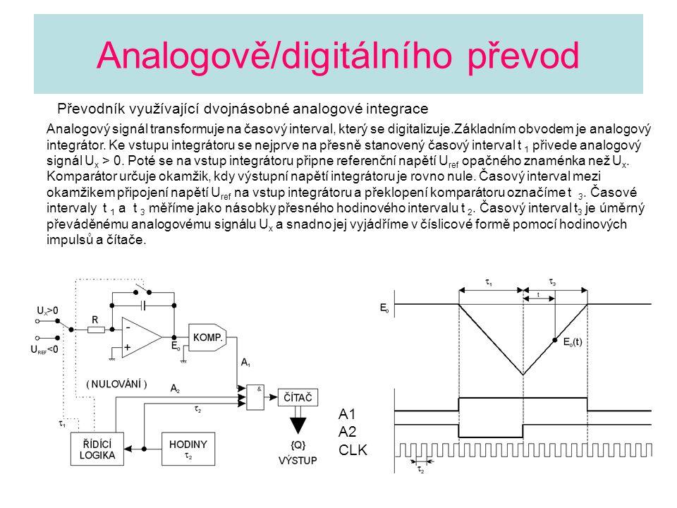Analogově/digitálního převod Převodník využívající dvojnásobné analogové integrace Analogový signál transformuje na časový interval, který se digitali