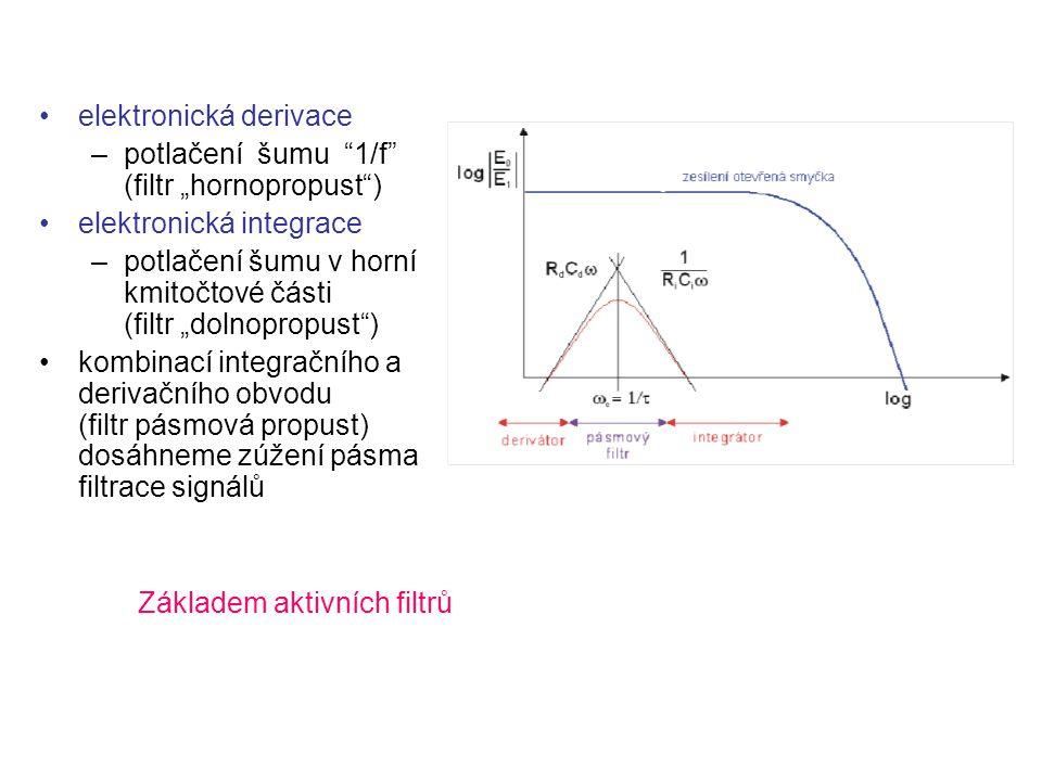 """elektronická derivace –potlačení šumu """"1/f"""" (filtr """"hornopropust"""") elektronická integrace –potlačení šumu v horní kmitočtové části (filtr """"dolnopropus"""