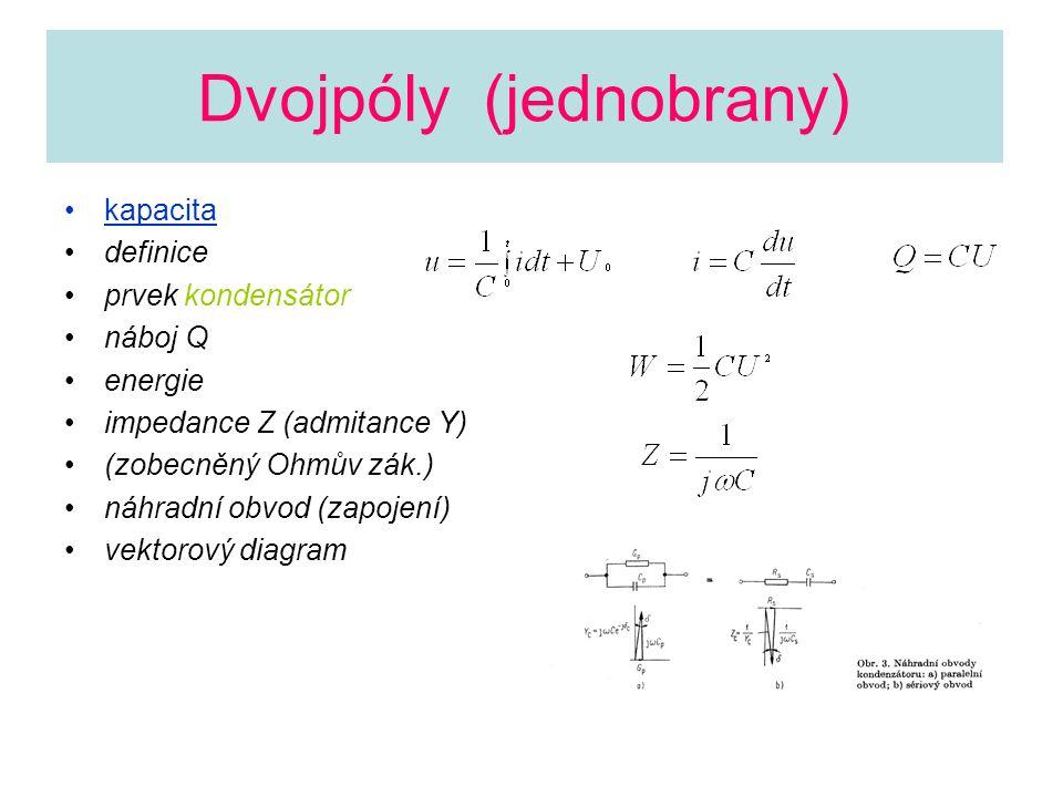 Dvojpóly (jednobrany) kapacita definice prvek kondensátor náboj Q energie impedance Z (admitance Y) (zobecněný Ohmův zák.) náhradní obvod (zapojení) v