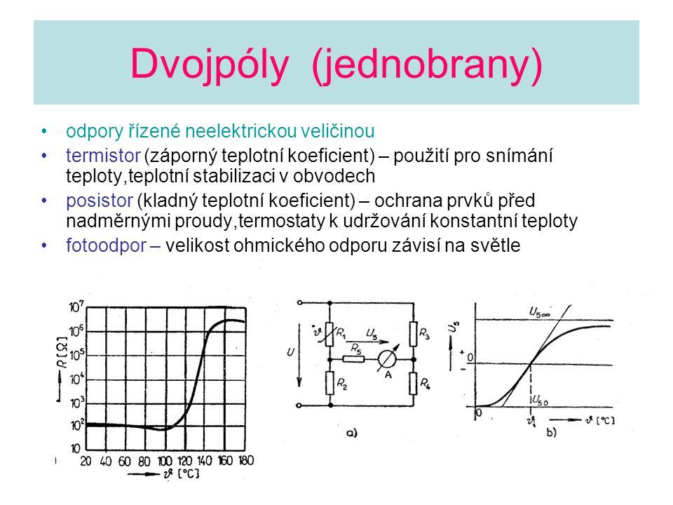Obvody s diskrétními polovodičovými součástkami Diody pn přechod,VA charakteristika v prvním kvadrantu,souvislost prahového napětí U d se šířkou zakázaného pásu Ge,Si,Schottky,GaAsP,SiC diferenciální odpor grafická konstrukce detekce rf napětí na diodě rekombinace nosičů náboje omezuje rychlost usměrnění či sepnutí přechodu nelineární prvek