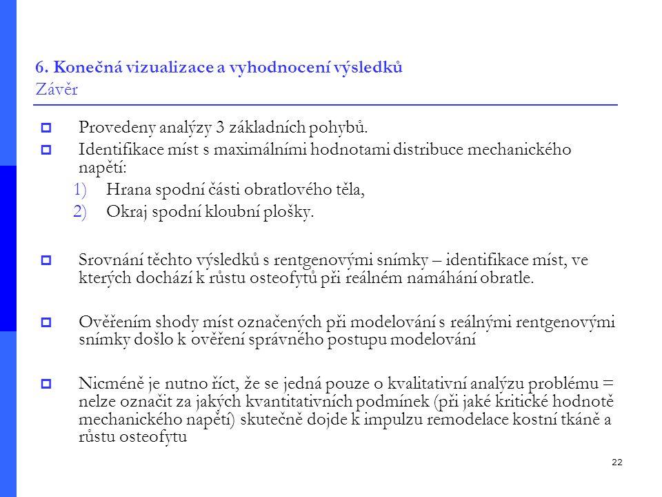 22 6.Konečná vizualizace a vyhodnocení výsledků Závěr  Provedeny analýzy 3 základních pohybů.