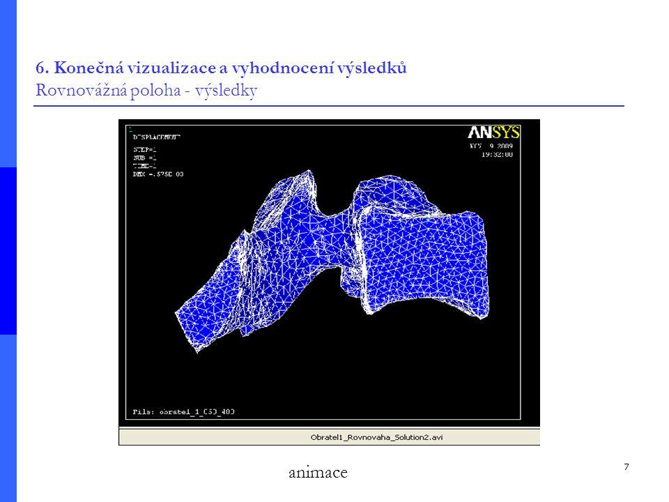 7 6. Konečná vizualizace a vyhodnocení výsledků Rovnovážná poloha - výsledky animace
