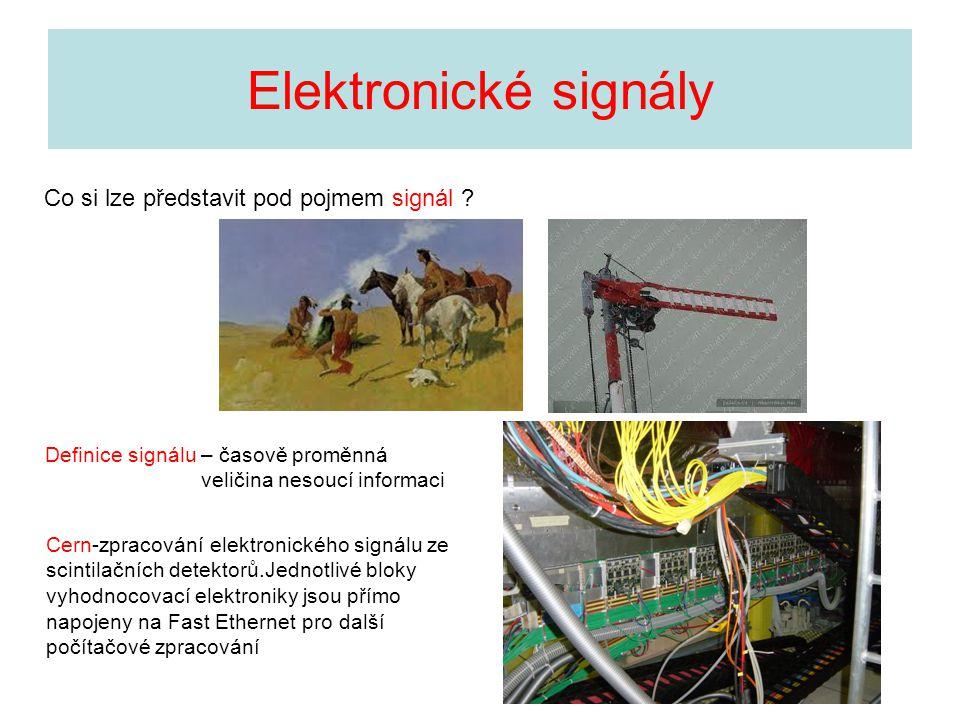 Elektronické signály - terminologie Signály – periodické, jednorázové, harmonický a neharmonický průběh deterministický – známe-li průběh signálu v libovolném časovém okamžiku,lze jej matematicky popsat stochastický – signál s charakterem náhodné veličiny Převod obecných signálů na elektronické signály prostřednictvím převodníků (teplo,světlo,pohyb,tlak atd) Prostředí vedoucí elektrické signály – může výrazně ovlivnit přenesený signál vodiče,vedení….(elektrické,optické aj.) – ovlivnění přenosu signálu bezdrátový přenos …..elmg vlny – radio,TV,mobil,družice,radiolokace aj proces,kdy se původní signál upraví (modulace na nosnou)