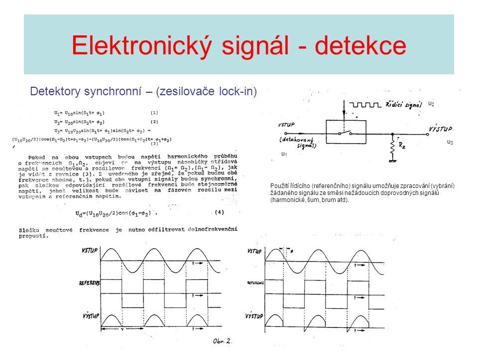 Elektronický signál - detekce Detektory synchronní – (zesilovače lock-in) Použití řídícího (referenčního) signálu umožňuje zpracování (vybrání) žádané