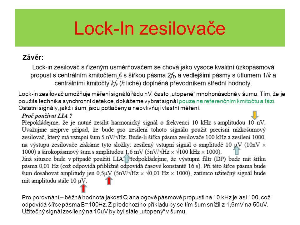 """Lock-in zesilovač umožňuje měření signálů řádu nV, často """"utopené"""" mnohonásobně v šumu. Tím, že je použita technika synchronní detekce, dokážeme vybra"""