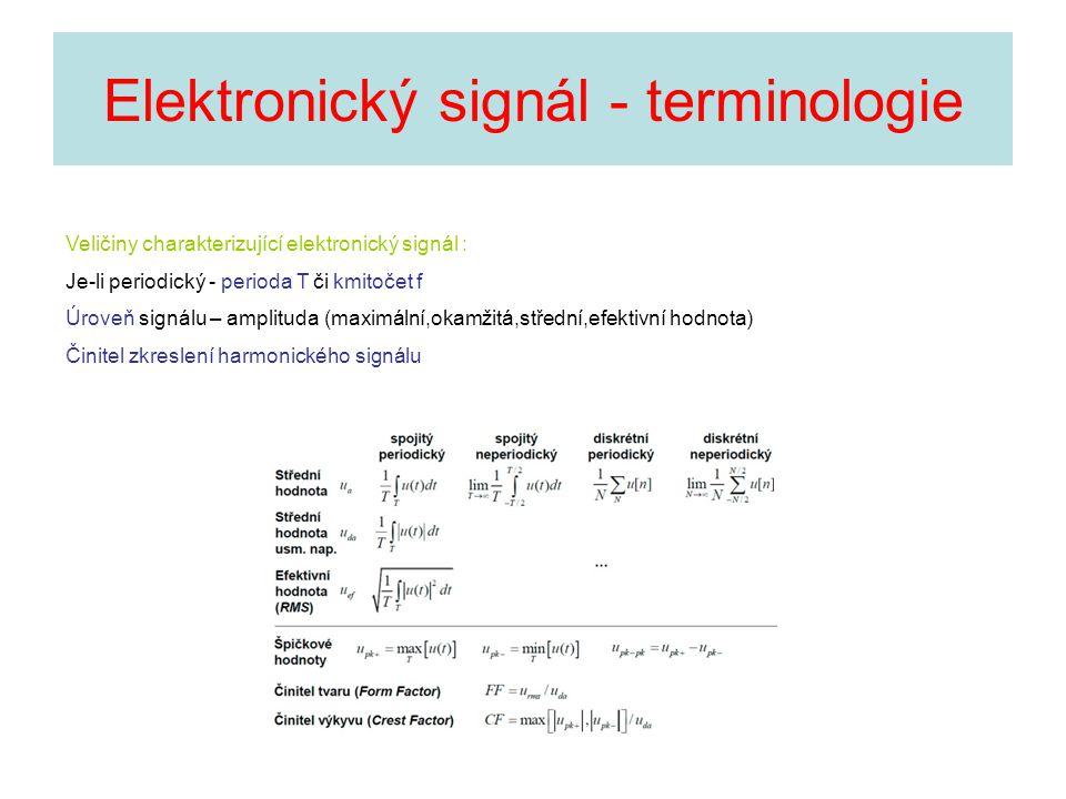 Elektronický signál - terminologie Veličiny charakterizující elektronický signál : Je-li periodický - perioda T či kmitočet f Úroveň signálu – amplitu