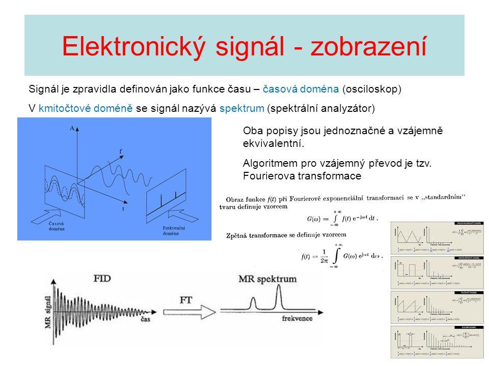 Elektronický signál - zobrazení Signál je zpravidla definován jako funkce času – časová doména (osciloskop) V kmitočtové doméně se signál nazývá spekt